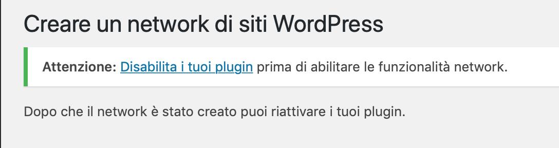 Attivazione WordPress Multisite