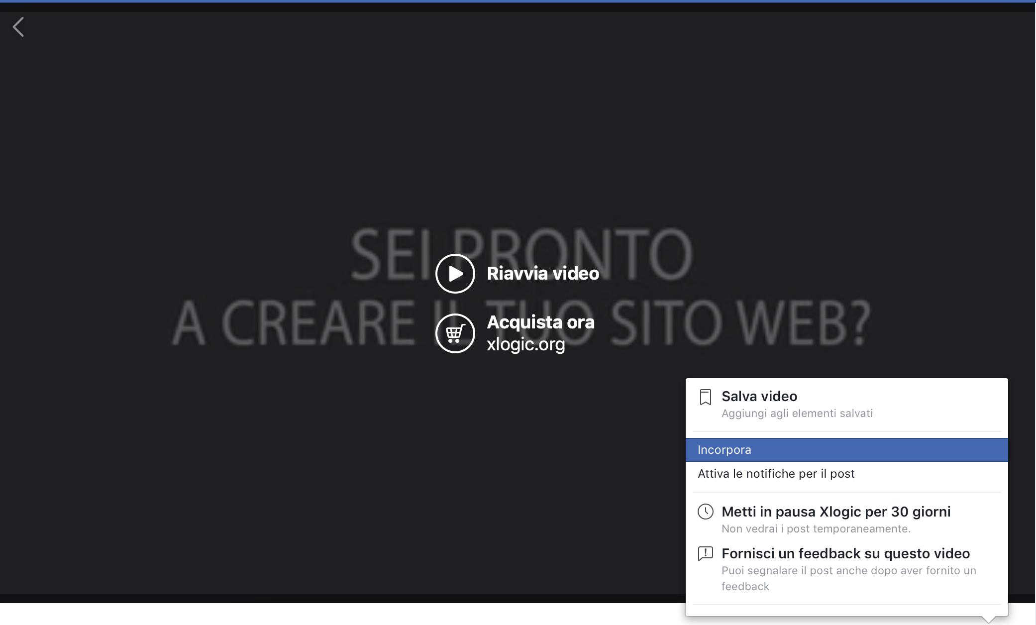 integrazione video facebook