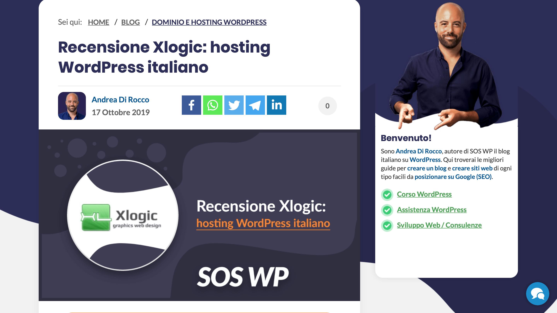 recensione xlogic hosting sos wp