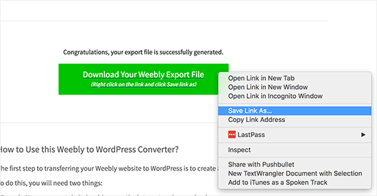 export weebly
