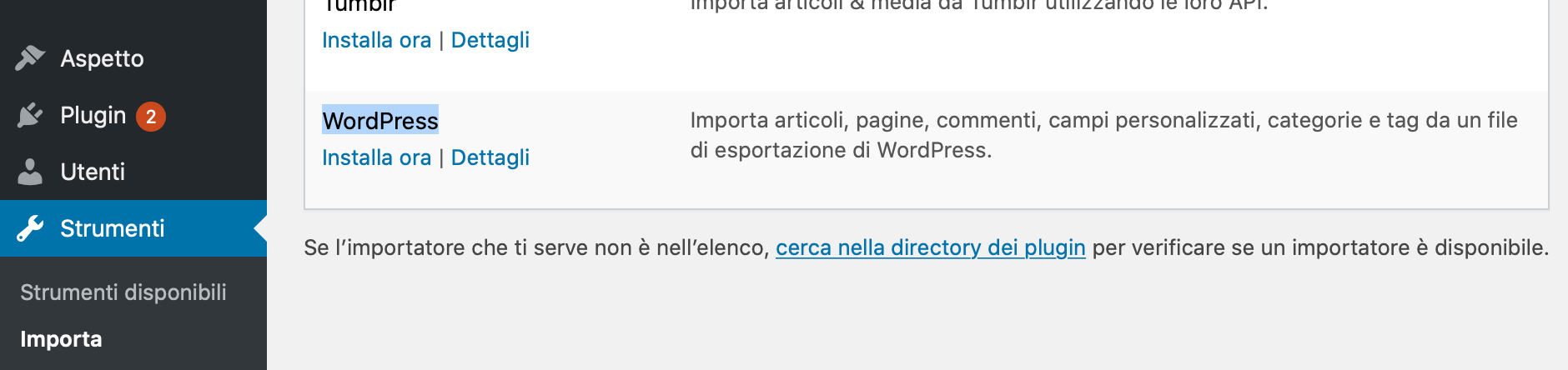 importa wordpress