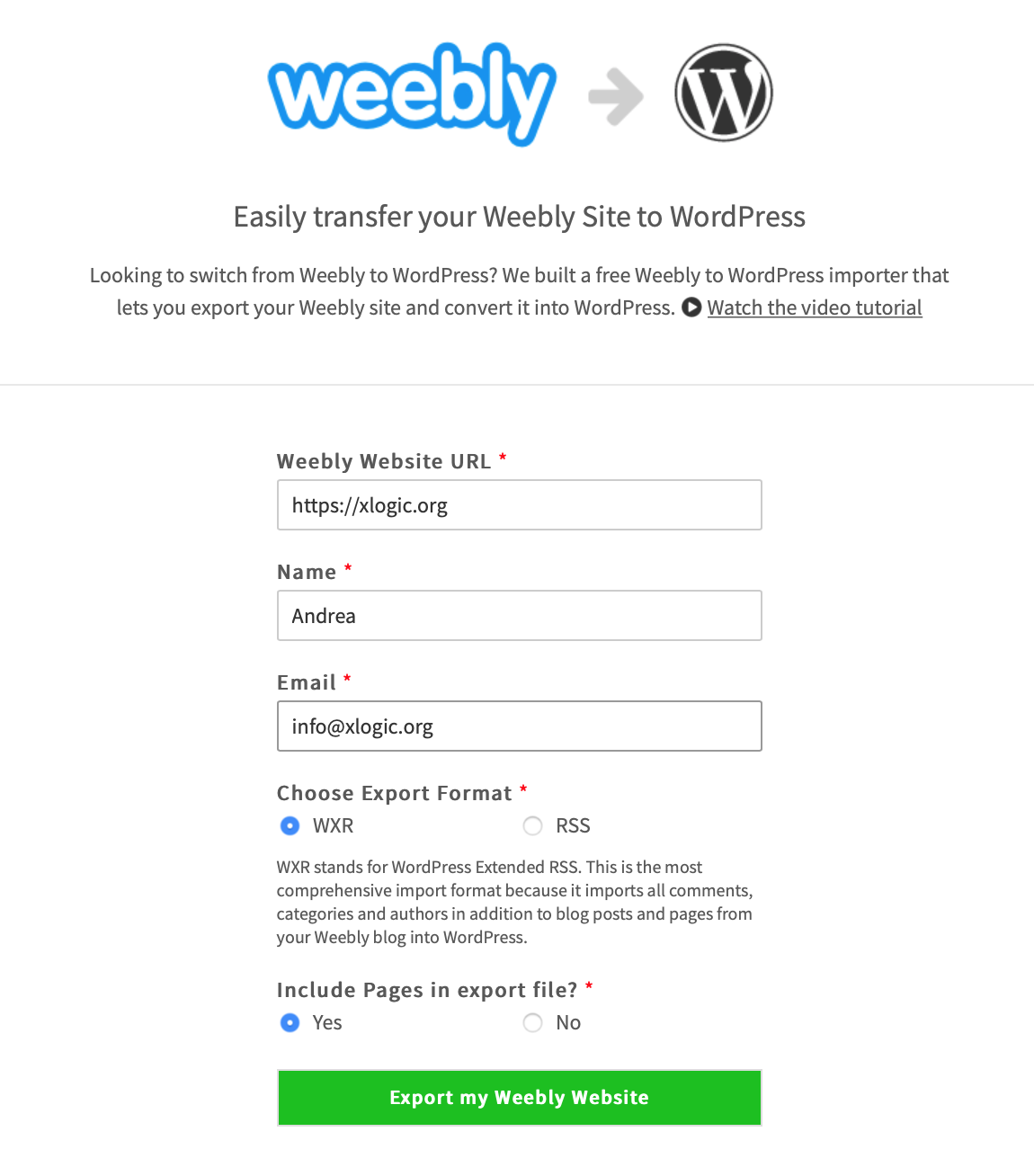 convertire weebly wordpress