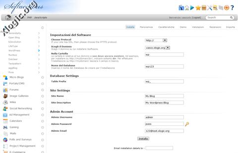 Configurazione WordPress Softaculous