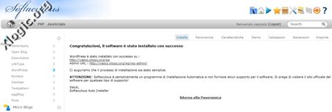 Wordpress fine installazione Softaculous