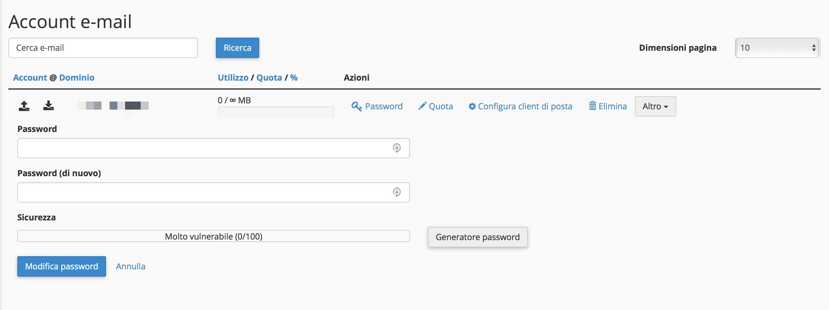 Come modificare la password di un indirizzo mail