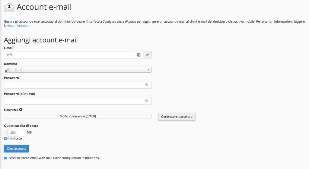 Come creare un indirizzo mail da cPanel