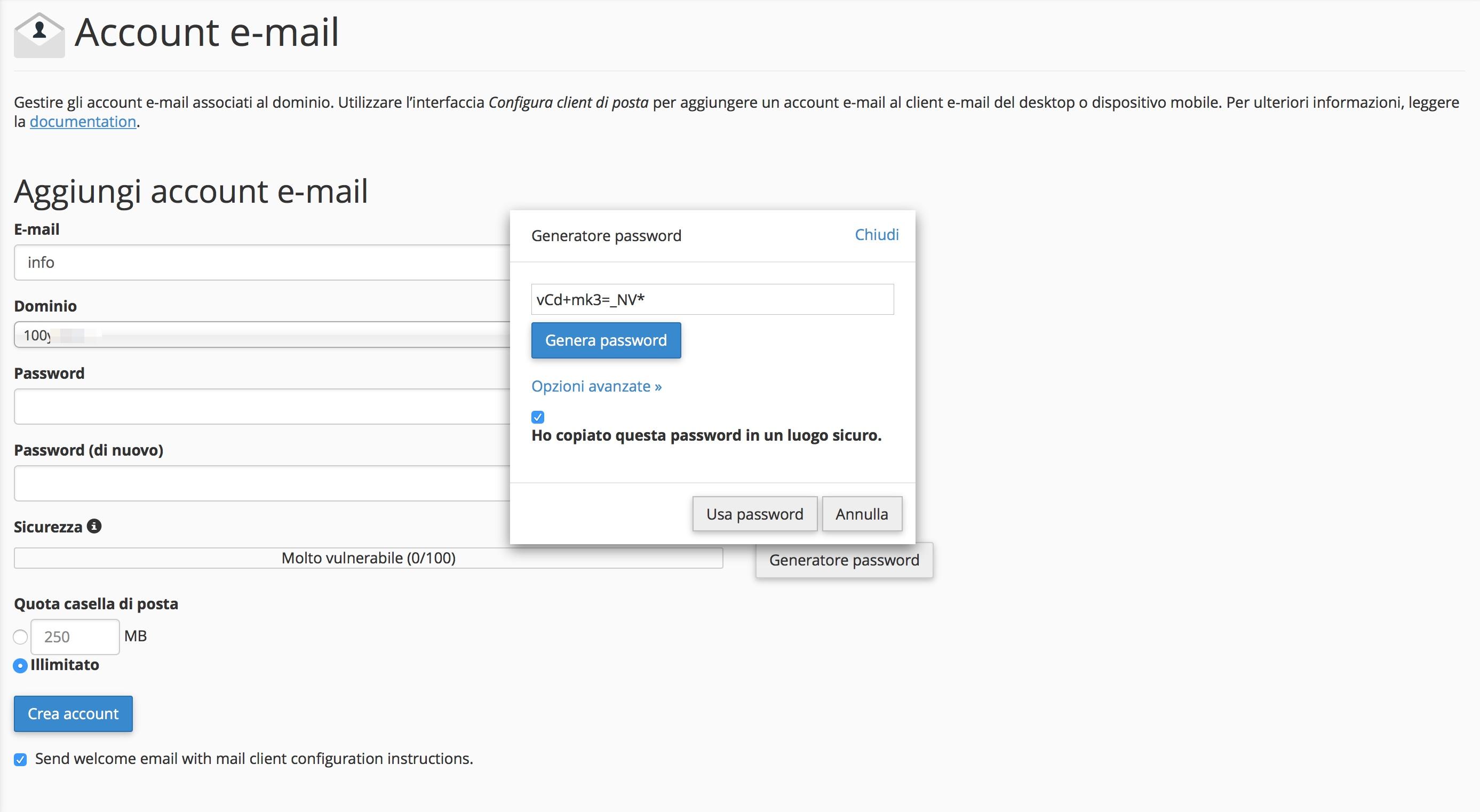 fd0f5b3cd31b All'interno dell'area Account e-mail saranno presenti tutti gli indirizzi  mail che sono stati creati e da questa sezione potrai modificare la  password (non ...